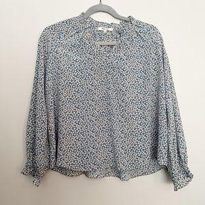 Madewell ruffle floral print silk blouse XS